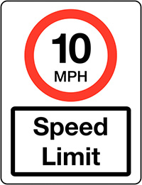 10mph Speed Limit Class 1 Reflective Traffic Sign  Wall  600x450mm Reflective Safety Sign