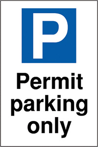 Permit parking only 400x300mm 2mm Polycarbonate Safety Sign