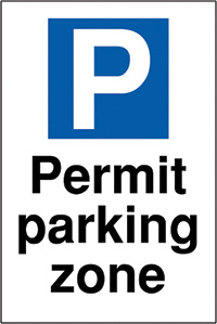 Permit parking zone 400x300mm 2mm Polycarbonate Safety Sign