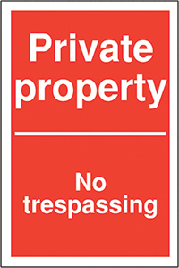 Private property No trespassing 400x300mm 2mm Polycarbonate Safety Sign