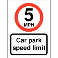 5mph Car Park Speed Limit 400x300mm 2mm Polycarbonate Safety Sign