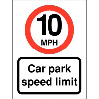 10mph Car Park Speed Limit 400x300mm 2mm Polycarbonate Safety Sign