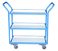 Tray Trolley - 2 Trays  Steel Removable/Reversible Shelf/Trays