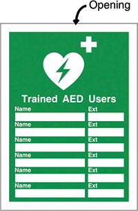AED Insert Sign 327x240mm  Safety Sign