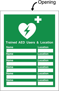 Trained AED Insert Sign 327x240mm  Safety Sign