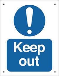 Keep out  400x300mm 0.9mm Aluminium Safety Sign