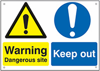 Caution Dangerous site Keep out  300x400mm 0.9mm Aluminium Safety Sign