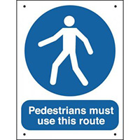Pedestrians Must Use This Route  400x300mm 0.9mm Aluminium Safety Sign