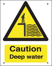 Caution Deep water  400x300mm 0.9mm Aluminium Safety Sign