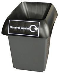 30 Litre Recycling Bin - Black  General Waste