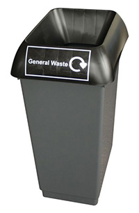 50 Litre Recycling Bin - Black  General Waste