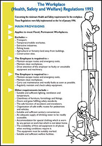 600x420mm The Workplace Health Safety   Welfare Regulations 1992 Wallchart