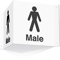 200x400mm Male 3d Projecting Washroom Sign - white text on black background - white text on black background