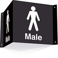 200x400mm Male 3d Projecting Washroom Sign - black text on white background - black text on white background