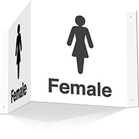 200x400mm Female 3d Projecting Washroom Sign - white text on black background - white text on black background
