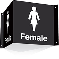 200x400mm Female 3d Projecting Washroom Sign - black text on white background - black text on white background