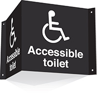 200x400mm Accessible toilet 3d Projecting Washroom Sign - black text on white background