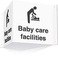 200x400mm Baby care facilities 3d Projecting Washroom Sign - white text on black background