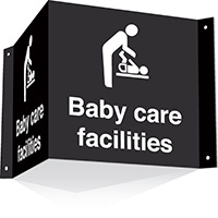 200x400mm Baby care facilities 3d Projecting Washroom Sign - black text on white background