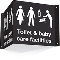 200x400mm Toilet   baby care facilities 3d Projecting Washroom Sign - black text on white background