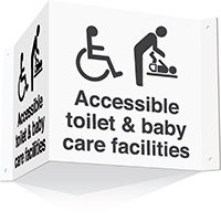 200x400mm Accessible toilet   baby care facilities 3d Projecting Washroom Sign - white text on black background