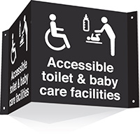 200x400mm Accessible toilet   baby care facilities 3d Projecting Washroom Sign - black text on white background