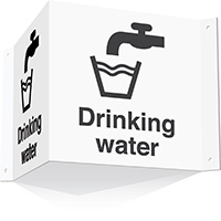 200x400mm Drinking water 3d Projecting Washroom Sign - white text on black background