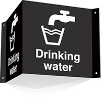 200x400mm Drinking water 3d Projecting Washroom Sign - black text on white background