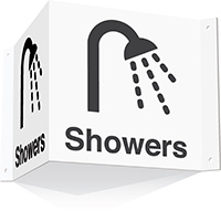 200x400mm Showers 3d Projecting Washroom Sign - white text on black background