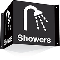 200x400mm Showers 3d Projecting Washroom Sign - black text on white background