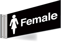 150x300mm Female Double-sided Washroom Sign - T Bar - White text on black background