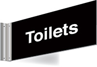 150x300mm Toilets Double-sided Washroom Sign - T Bar - White text on black background