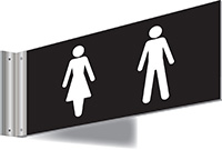 150x300mm Washroom Sign - T Bar - white text on black background