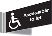 Thumbnail 150x300mm Accessible toilet Double-sided Washroom Sign - T Bar - black text on white background