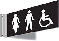 150x300mm Male Female Disabled Symbol Double-sided Washroom Sign - T Bar - White text on black background