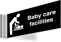 150x300mm Baby care facilities Double-sided Washroom Sign - T Bar - White text on black background