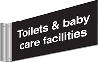 150x300mm Toilet   baby care facilities Double-sided Washroom Sign - T Bar - White text on black background