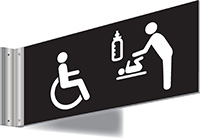 150x300mm Disabled   Baby changing Symbol Double-sided Washroom Sign - T Bar - White text on black background