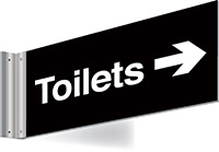 150x300mm Toilets right arrow Double-sided Washroom Sign - T Bar - White text on black background