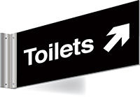 150x300mm Toilets right up arrow Double-sided Washroom Sign - T Bar - White text on black background