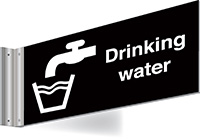 150x300mm Drinking water Double-sided Washroom Sign - T Bar - White text on black background