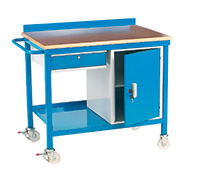 Mobile Work Bench C/W Drawer and Cupboard - Plywood Top