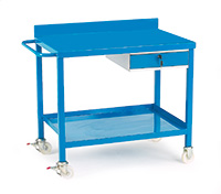 Mobile Work Bench C/W Single Drawer - Steel Top