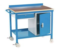 Mobile Work Bench C/W Drawer and Cupboard - Steel Top