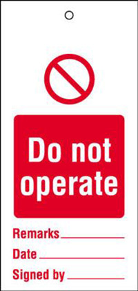 110x50mm Do not operate Maintenance Safety Tag