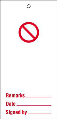 110x50mm Prohibition blank Maintenance Safety Tag