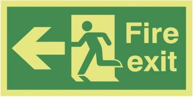 Fire Exit Running Man Arrow Left   150x300mm  1.2mm Xtra Glo Rigid Plastic Safety Sign