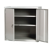 Double Door Construction Tool Cabinet with two fixed shelves