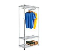 Chrome Wire Garment Rack with Undershelf