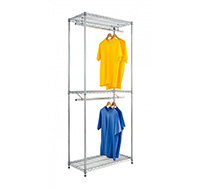 Double Garment Rack in Chrome Wire Shelving